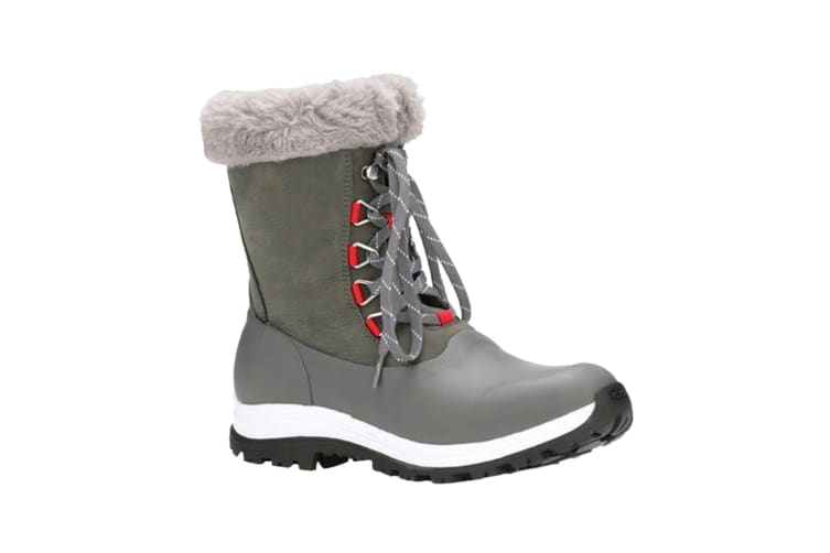 Muck Boots Womens/Ladies Apres Leather Lace Up Mid Boot (Grey/Red) (5 UK)
