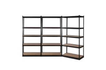 3x0.9M 5-Shelves Steel Warehouse Shelving Racking Garage Storage Rack Black