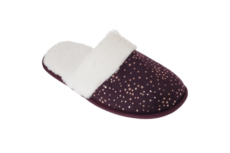 SlumberzzZ Womens/Ladies Faux Fur Lined Star Slippers With Rubber Sole (Purple) (5/6 UK / 38/39 EU)