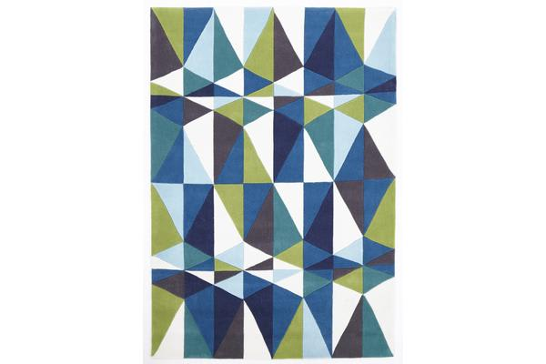 Blue and Green Crystal Design Rug 225x155cm