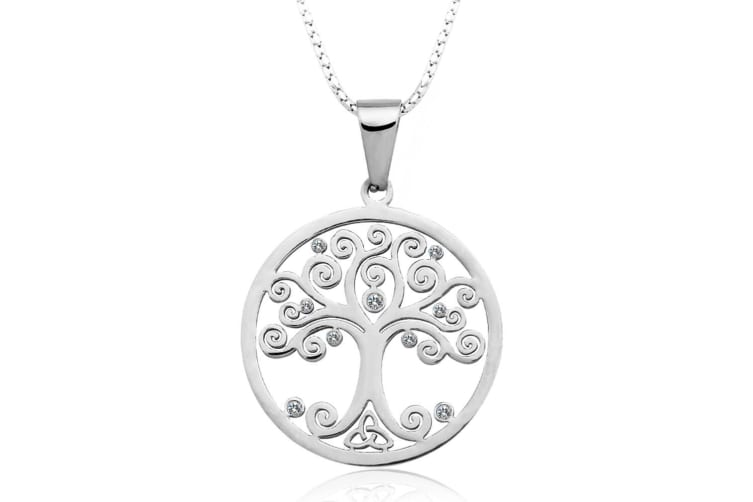 Olive Tree Pendant Necklace-Silver/Clear