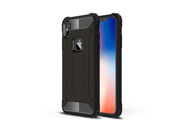 For iPhone XS MAX Cover Armour Shockproof Dust Proof Tough Back Phone Case Black