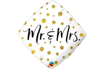 Qualatex 18in Mr. & Mrs. Dots Foil Balloon (White/Gold/Black) (One Size)