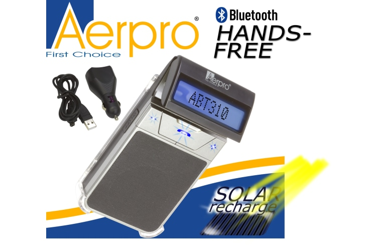 AERPRO ABT310 BLUETOOTH PHONE HANDSFREE WINDSCREEN SPEAKER CAR KIT SOLAR CHARGE