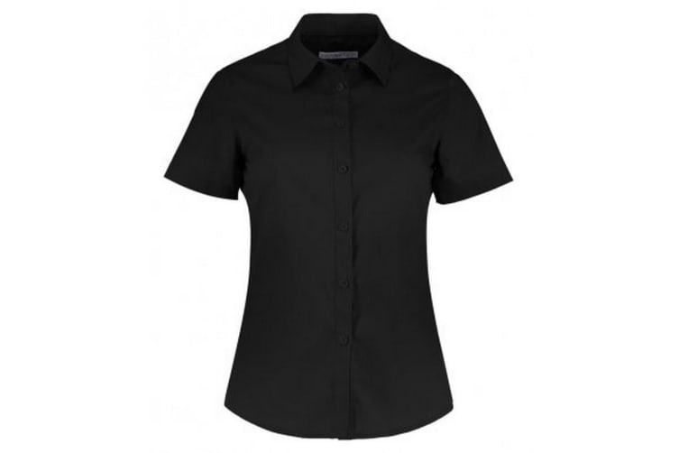 Kustom Kit Womens/Ladies Short Sleeve Tailored Poplin Shirt (Black) (6)