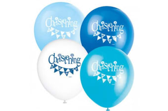 Unique Party Bunting Christening 12 Inch Latex Balloons (Pack Of 8) (Assorted) (One Size)