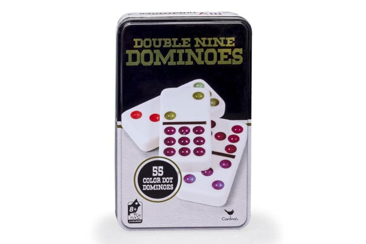 Cardinal Classic Double Nine Coloured Dots Dominoes w/Tin Case Family/Kids Game