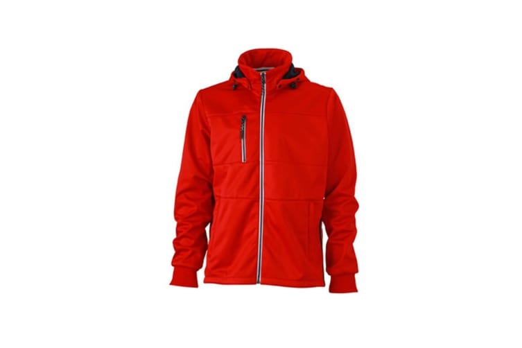 James and Nicholson Mens Maritime Jacket (Red/Navy/White) (XXL)