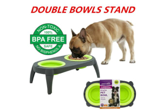Double Pet Bowls Dog Cat Food Water Raised Lifted Stand Elevated Puppy Kitten