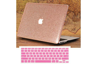 "Marble Frosted Matte Hard Case with Free Keyboard Cover for MacBook Pro 13"" 2016-2018 A1706 A1989 (With Touch Bar)-Glitter Rose Gold"