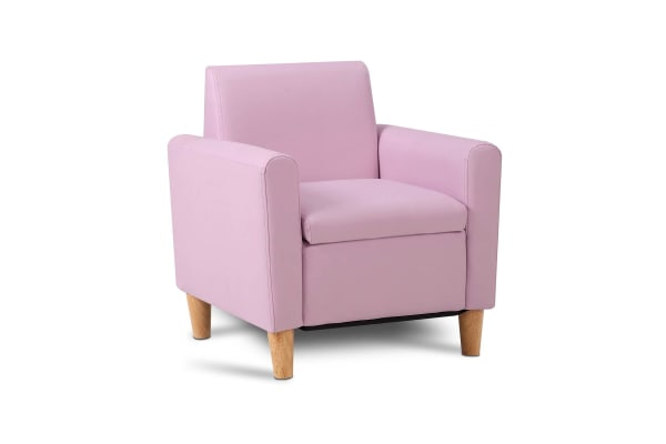 Kids PU Leather Couch Single (Pink)