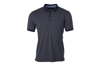 James and Nicholson Mens Printed Polo (Navy/White) (S)