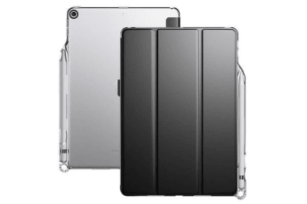 """Poetic Lumos X Case for iPad 9.7"""" 5th-6th Gen  2017-2018 Pen Holder Slot Black Front -Clear"""