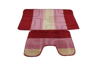 2 Piece Square Design Bath Mat And Pedestal Mat Set (5 Options) (Pink/Beige) (See Description)