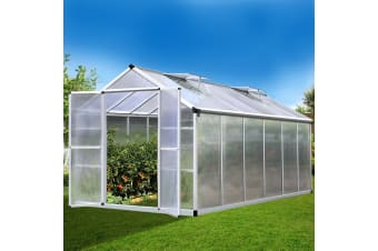 3.7x2.5M Aluminium Greenhouse Polycarbonate Garden Shed Green House