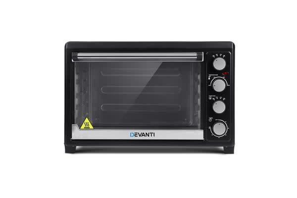 DEVANTi Electric Convection Oven Bake Benchtop Rotisserie Grill 45L (Black)