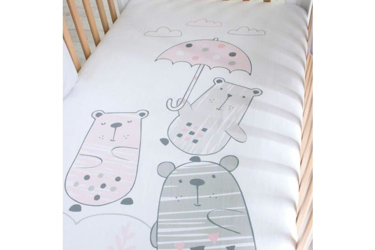 4pc Bubba Blue Beary Sweet Cot Fitted Cotton Bedding Sheet Baby/Infant 0m+ Pink