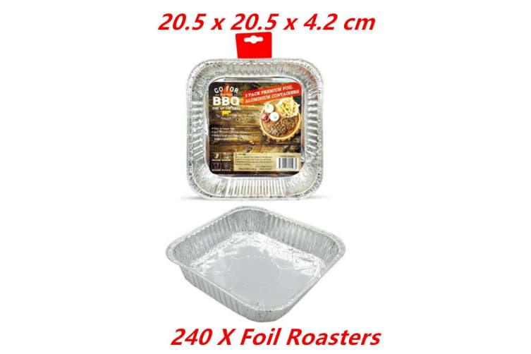 240 Square Foil BBQ Roaster Baking Take Away Catering Container Tray Disposable