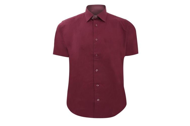 Russell Collection Mens Short Sleeve Easy Care Fitted Shirt (Port) (19.5)