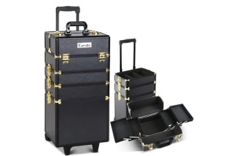 7 in 1 Portable Beauty Make up Cosmetic Trolley Case (Black/Gold)