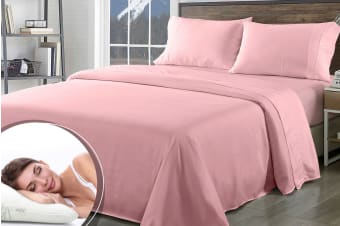 Royal Comfort 1000TC Bamboo Blend Sheet Set + Bamboo Pillow Twin Pack (Queen, Blush)