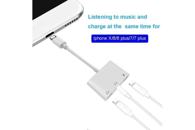 Mini Dual Lightning Splitter Adapter Audio AUX Converter Charger Adapter with Dual Ports 3.5mm Headphone Jack Charging Port for iPhone X 7 8 Plus
