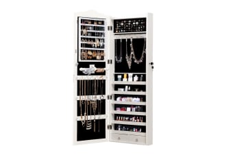 Mirror Jewellery Cabinet Makeup Storage Ear Ring Necklace Box With Led Light New