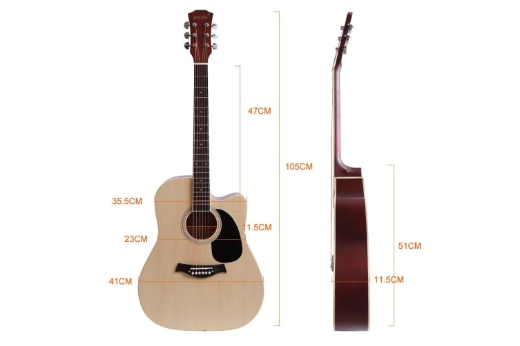 """Melodic 41"""" Inch Wooden Folk Acoustic Guitar Classical Full Size Cutaway Full set Nature"""