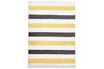 Stencil Shag Rug Yellow Charcoal White 230x160cm
