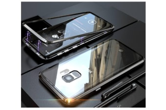Magnetic Adsorption Phone Case Metal Back Glass Cover For Samsung Galaxy Black Samsung S8Plus