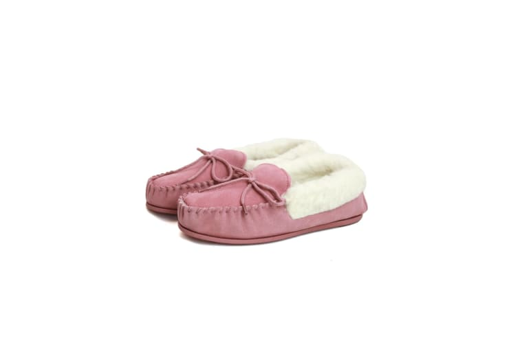 Eastern Counties Leather Womens/Ladies Hard Sole Wool Lined Moccasins (Pink) (7 UK)