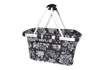 New Sachi Carry Shopping Basket Collapsible Tote Camellia Black