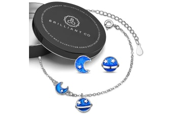 Boxed Blue Cosmos Bracelet and Earrings Set