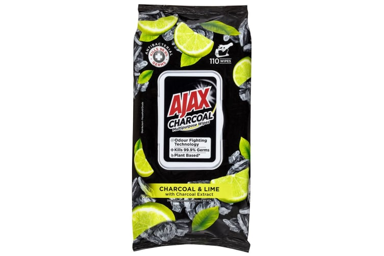 8x 110pc Ajax Plant Based Cleaning Multipurpose Towelettes Wipes Charcoal & Lime