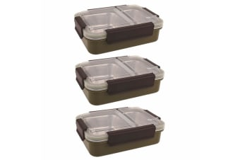 3PK Oasis 23cm Stainless Steel 2 Compartments Lunchbox Food Container Box Khaki