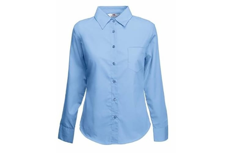 Fruit Of The Loom Ladies Lady-Fit Long Sleeve Poplin Shirt (Mid Blue) (3XL)