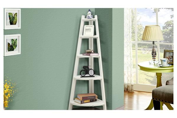 5-Tier Corner Ladder Bookshelf Storage Cabinet