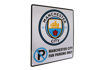 Manchester City FC Official No Parking Sign (White/Sky Blue)