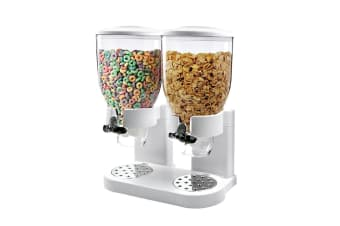 Double Cereal Dispenser Dry Food Storage Container Dispense Machine White  -  White