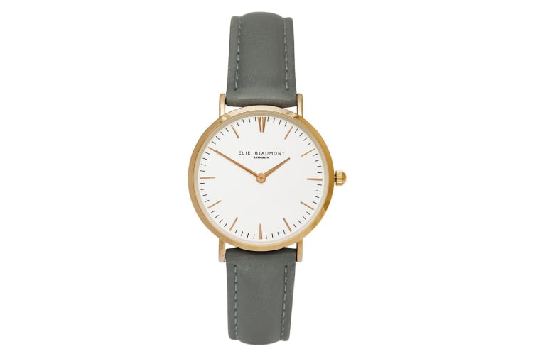Elie Beaumont Women 33mm Small Oxford Analogue Watch Leather Band Grey/Rose Gold