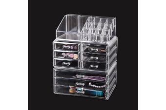 Cosmetic 7/8//9/10/11 Drawer Makeup Organizer Storage Jewellery Box Acrylic  -  9 Drawers(B)