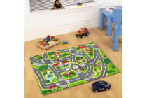 Kids Non Slip Road Map City Rug