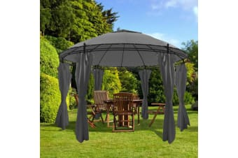 vidaXL Gazebo with Curtains Round 3.5x2.7 m Anthracite