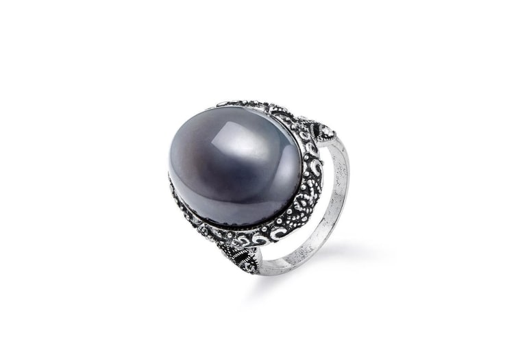 Intrigue Womens/Ladies Agate Ring (Silver) (18mm)