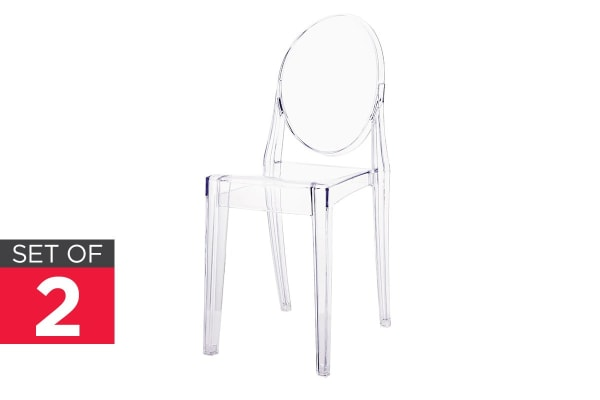 Ovela Set of 2 Ghost Dining Chairs (Clear)