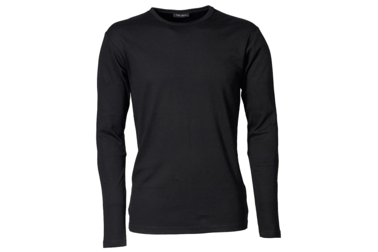 Tee Jays Mens Interlock Long Sleeve T-Shirt (Black) (2XL)