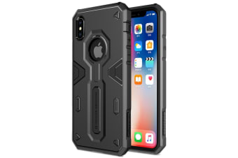 For iPhone XS X Tough Defender II Case Black Shockproof TPU & PC Armour Cover