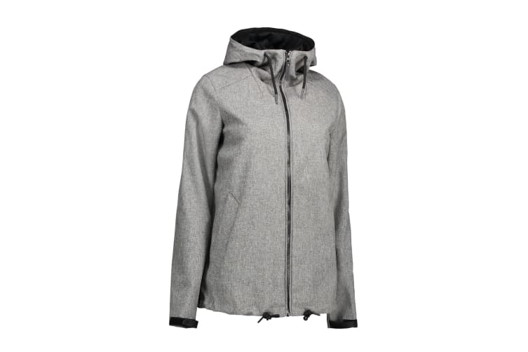 ID Mens Casual Soft Shell Hooded Jacket (Grey Melange) (XL)