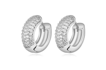 Thick Circular Pave Huggie Earrings - White Gold