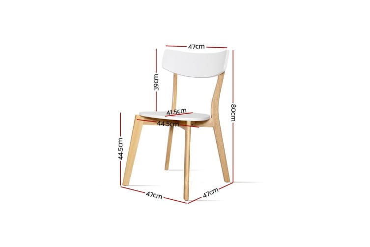 Artiss Dining Chairs Kitchen Chair Rubber Wood Cafe Retro White Wooden Seat x2